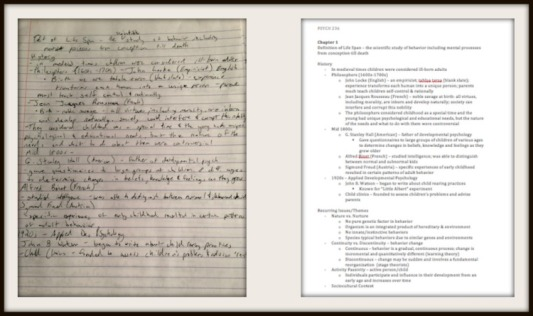 i.e. my handwritten psychology notes vs. typed