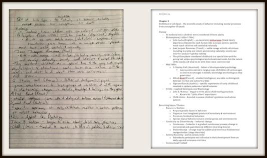 i.e. my handwritten psychology notes vs. typed