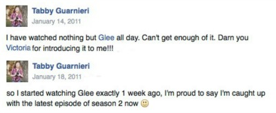 glee facebook posts